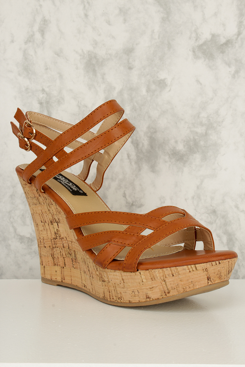 Camel Criss Cross Strappy Cut Out Open Toe Cork Platform Wedges Faux Leather
