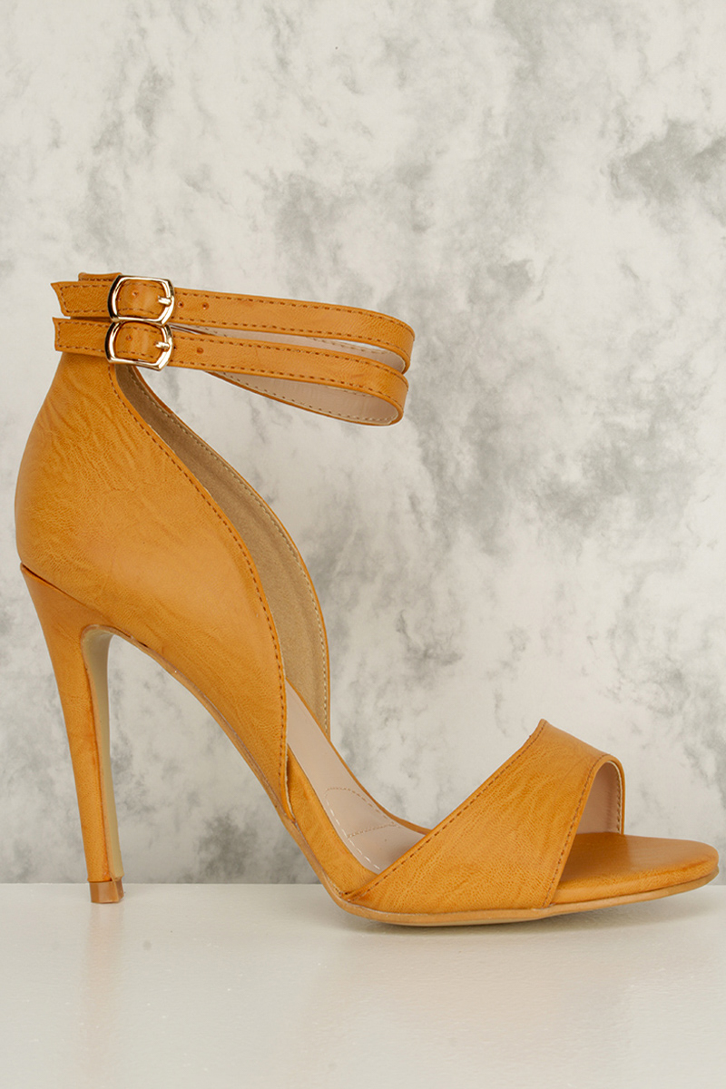 Camel High Ankle Polish Double Strap Open Toe Single Sole High Heel Faux Leather