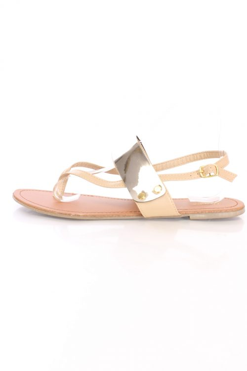 Camel Thong Post Stylish Sandals Faux Leather