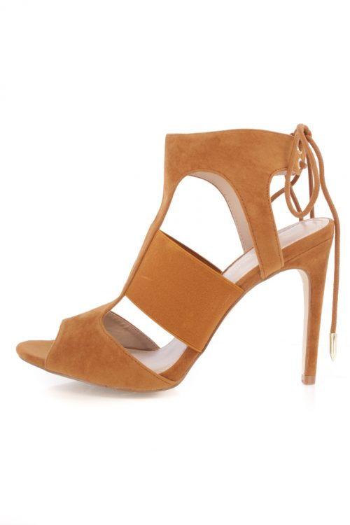 Chestnut Open Toe Cutout Detail Lace Up Heels