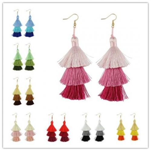 Christmas Gift Fashion Boho Jewelry Summer Bright Three Tier Fan Fringe Tassel Earrings Women Costume Jewelry Layer Tassel Drop Earrings