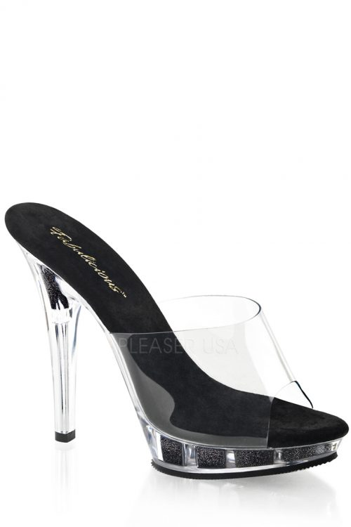 Clear Black Peep Toe Slip On Heels PVC Glitter