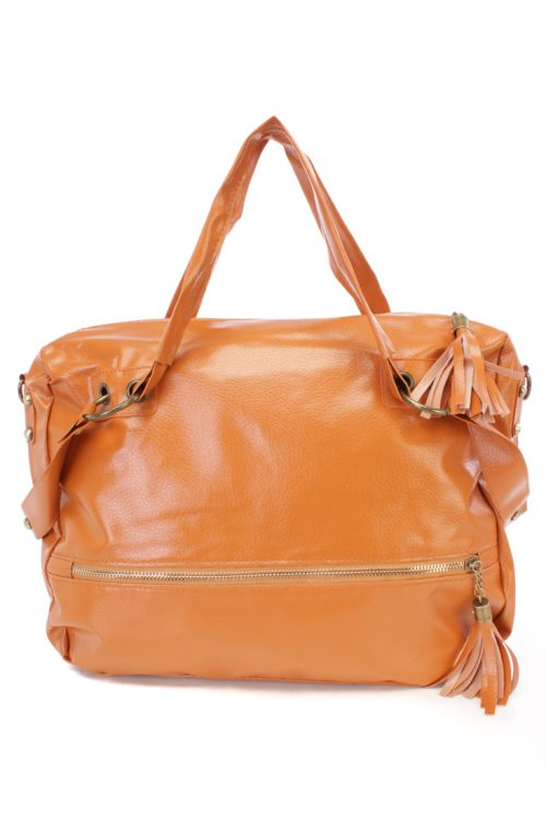 Cognac Faux Leather Large Handbag