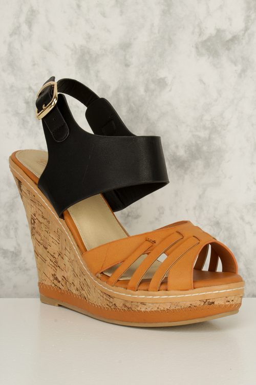 Cognac Strappy Cut Out Peep Toe Cork Wedges Faux Leather