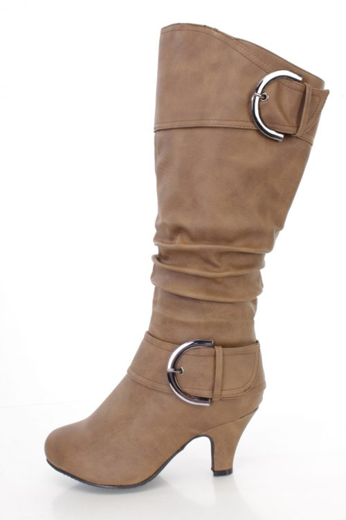 Cognac Strappy Knee High Boots Faux Leather