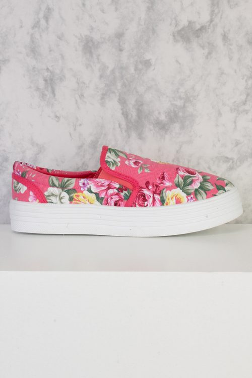 Coral Floral Print Round Closed Toe Slip Ons