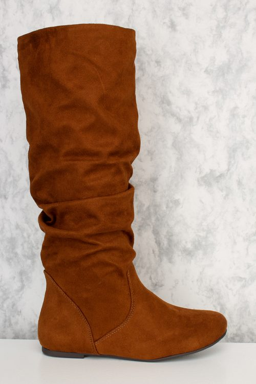 Dark Tan Slouchy Mid Calf Boots Faux Suede