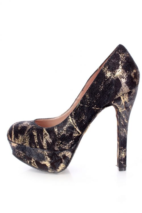 Denim Multi Animal Printed Round Toes Platform Pumps-Multi-8