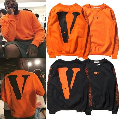 Europe and The US OFF VLONE Trend Long-sleeved Fleece Hoodies Mens Women Street Hip Hop V Orange Print Pullover Sweater Loose Lovers Tops