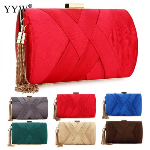 Famous Brand Fashion Female Evening Party Bag Red Nylon Women Handbags Blue Small Clutch Bag Pink Casual Tassel Shoulder Bags