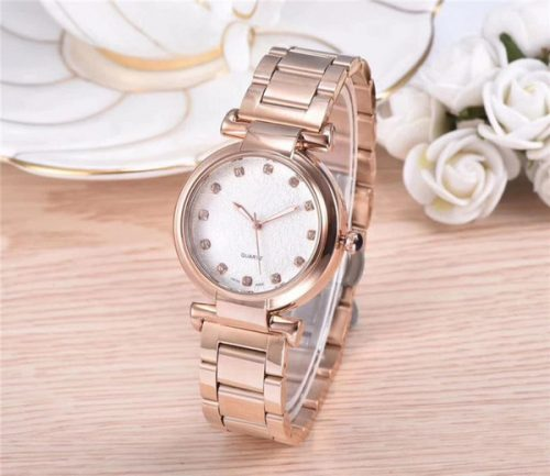 Fashion luxury women watch with diamond Rose gold/golden Stainless Steel lady watches Bracelet Wristwatches Brand female clock CHA