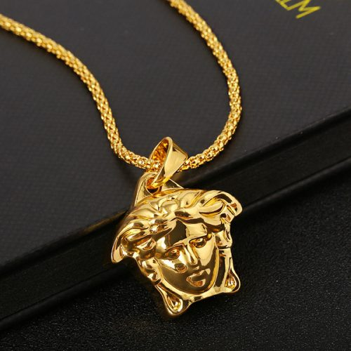 Fashion medusa head necklace pendant high quality necklace polishing factory outlet