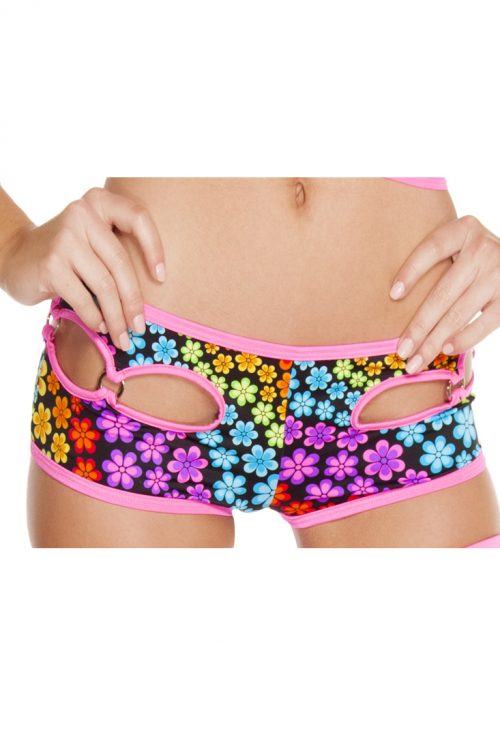 Floral Trance Cut-out O-Ring Detail Shorts