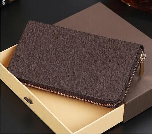 Free Shipping! 2018 new men and women Fashion designer clutch Genuine leather wallet with dust bag 60015 60017