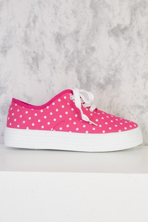 Fuchsia Polka Dot Print Round Closed Toe Lace Tie Shoes