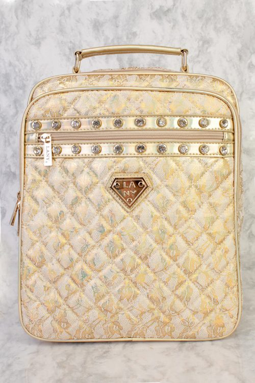 Gold Glittery Holographic Double Front Pocket Rhinestone Accent Backpack