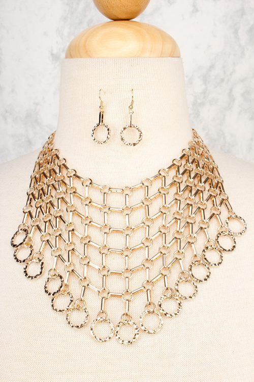 Gold High Polish Layered Net Chain Bib Textured Ring Accent Necklace Dangle Ring Earring Set