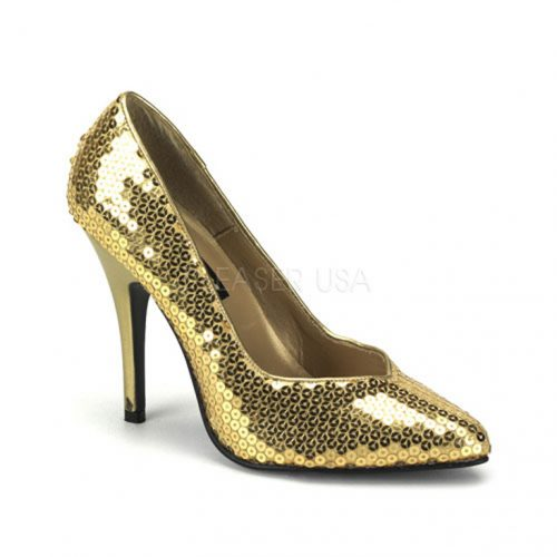 Gold Sequins Pointed Toe Pump Heels