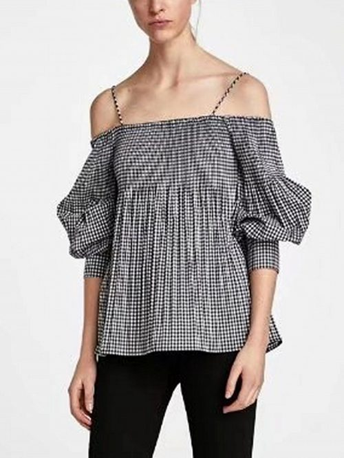 Gray Plaid Spaghetti Strap Long Sleeve Blouse