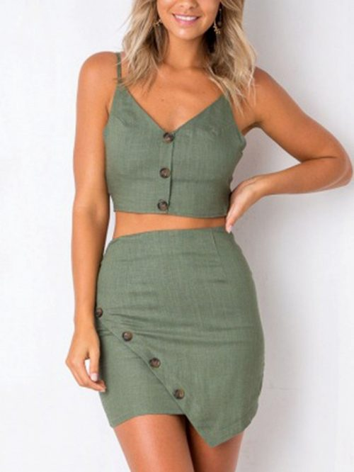 Green Cotton V-neck Chic Women Crop Top And High Waist Mini Dress