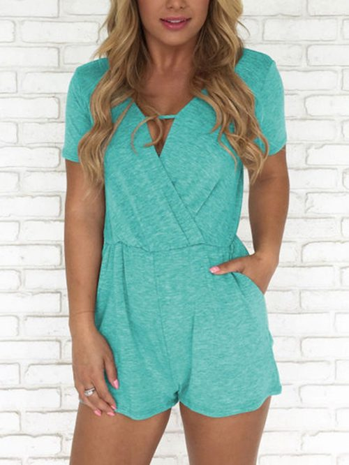 Green V-neck Pocket Detail Romper Playsuit