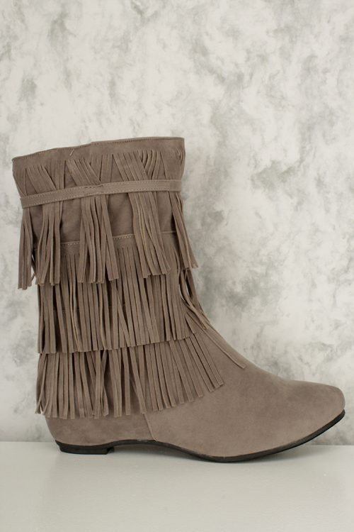 Grey Fringed Ankle Boots Faux Suede