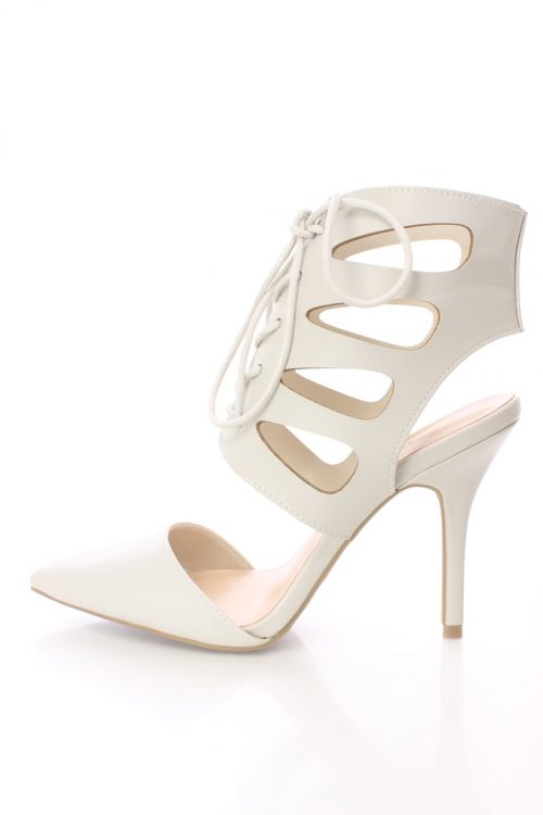 Grey Lace Up Tie Single Sole Heels Faux Leather
