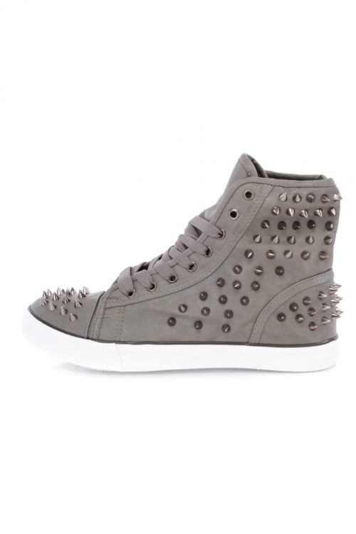 Grey Spike Studded Lace Up Flat Sneakers Faux Leather