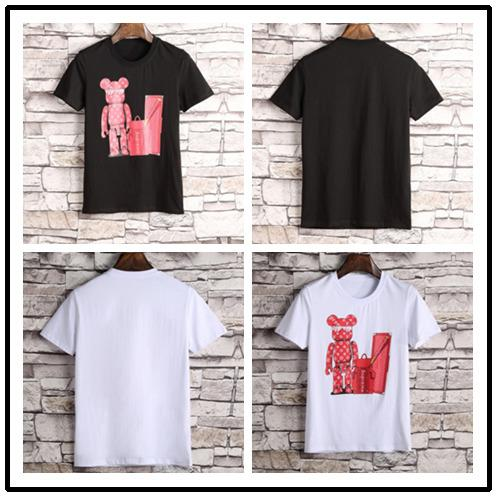 High Quality New Brand Simple Fashion Luxury Designer Cartoon Print O-collar T-Shirts Casual Personality Short Seelve For Men