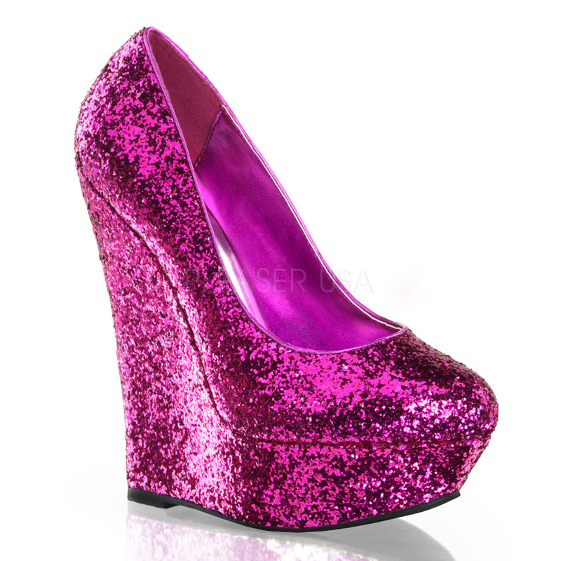 Hot Pink Platform Wedges Glitter