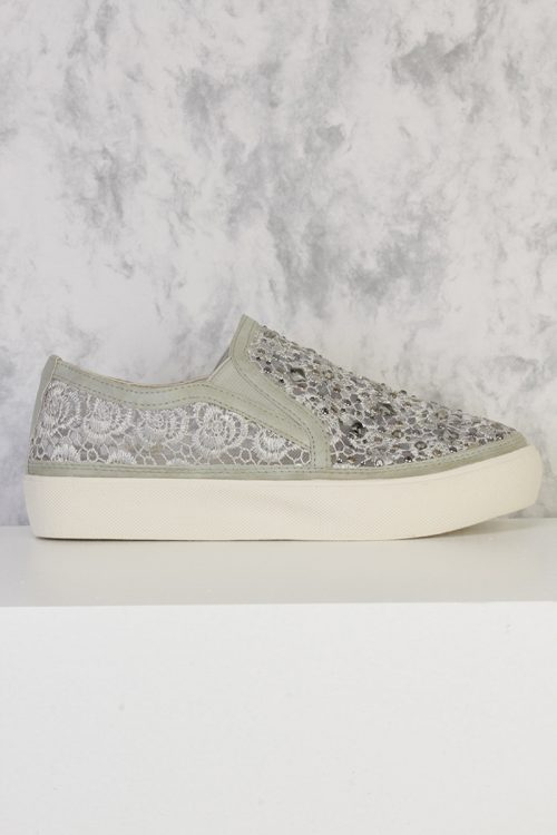 Ice Floral Embroider Crochet Detailing Round Closed Toe Slip Ons