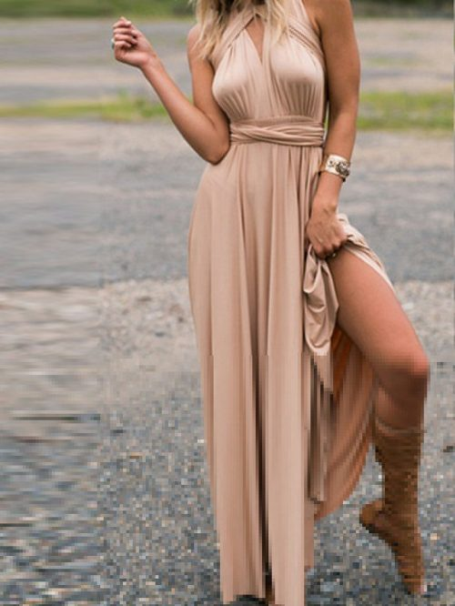 Khaki Polyester V-neck Ruched Detail Open Back Party Women Maxi Dress