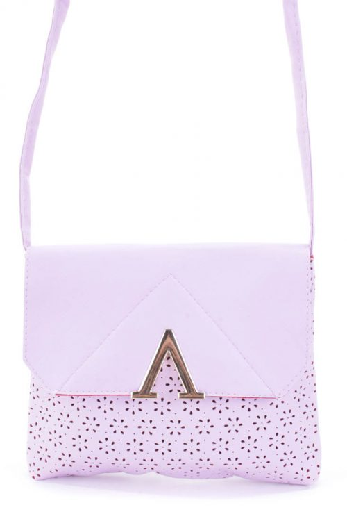 Lavender Perforated Faux Leather Crossbody Handbag