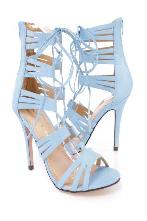 Light Blue Peep Toe Lace Up Strappy High Heels Faux Leather