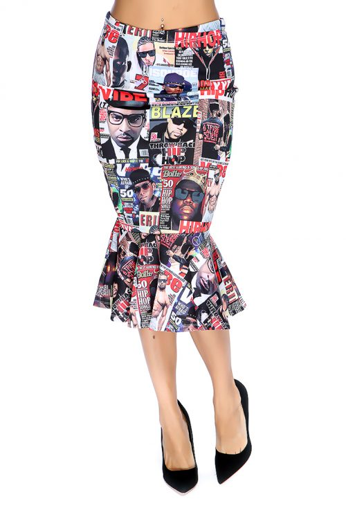 Magazine Printed Ruffle Bottom Skirt
