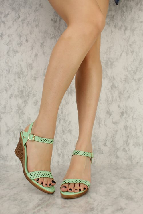 Mint Perforated Cut Out Detailing Open Toe Platform Wedges Faux Leather