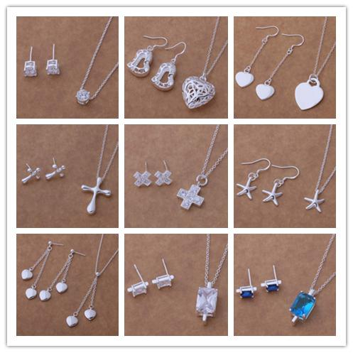 Mixed Order Fashion Jewelry Set 925 Silver necklace & earrings for women wedding gift free shipping 9set/lot