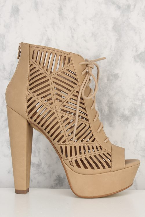 Natural Perforated Heel Cut Out Front Lace Up Chunky Heel Pumps Nubuck