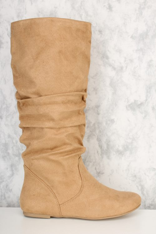 Natural Slouchy Mid Calf Boots Faux Suede
