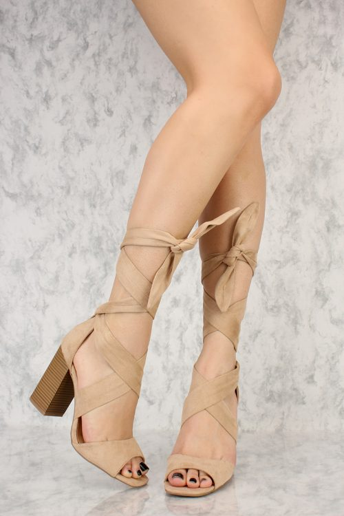 Natural Thick Wrap Around Criss Cross Straps Open Toe Chunky Heel Suede