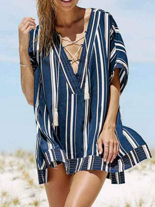 Navy Green Stripe Plunge Lace Up Front Chic Women Beach Cover Up