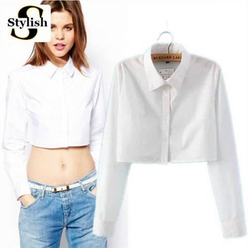 New Fashion European Style Female White Blouse Shirt Sexy Short Blouses Long Sleeves Crop Tops Women 2016 Spring Casual Clothing