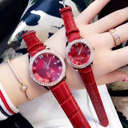 New arrival dress women men watches couple fashion luxury brand Leather strap diamond bezel quartz lovers' watch for mens ladies best gift