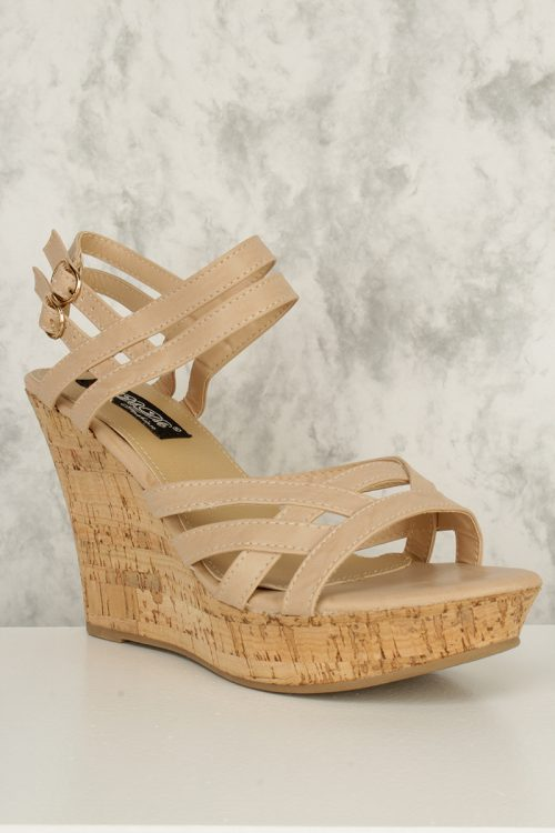 Nude Criss Cross Strappy Cut Out Open Toe Cork Platform Wedges Faux Leather