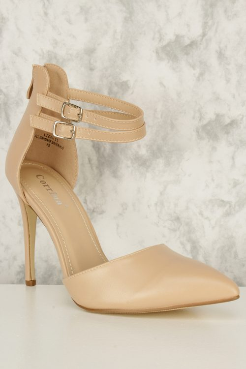 Nude Double Buckle Ankle Strap Pointy Toe Single Sole High Heel Faux Leather