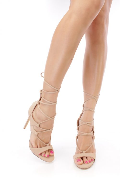 Nude Front Lace Open Toe Casual High Heel Nubuck