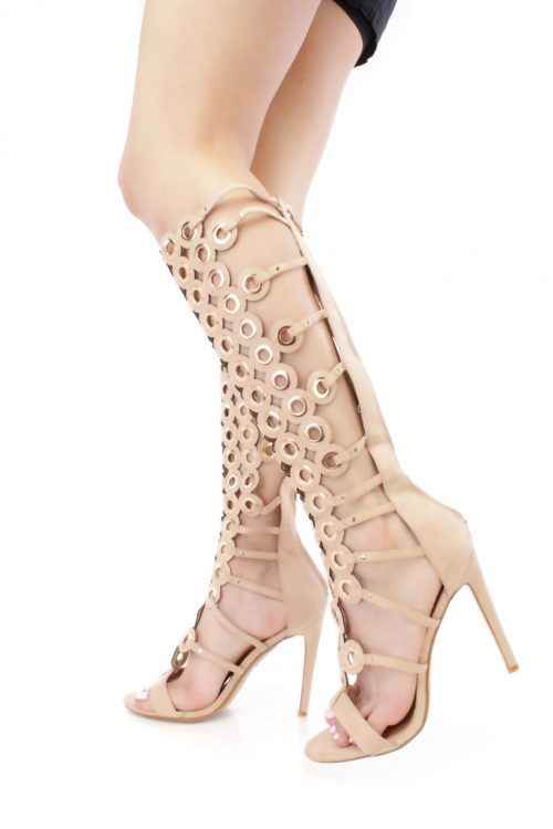 Nude Large Grommet Gladiator High Heel Boots Faux Suede