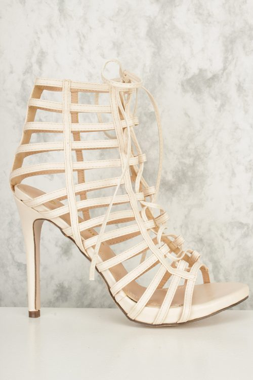 Nude Strappy Cut Out Lace Up Open Toe High Heel Faux Leather