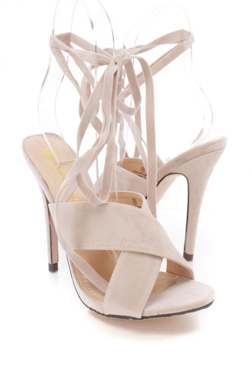 Nude Suede Open Toe Criss Cross Wrapped Around Strap High Heels