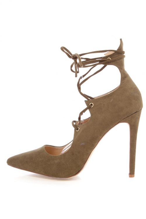 Olive Lace Up Tie Single Sole High Heels Faux Suede
